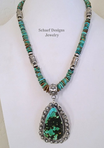 Schaef Designs Large Turquoise & Amber Pendant on Leather Necklace| New Mexico