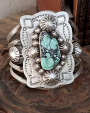 Schaef Designs carved turquoise lizard on stamped sterling silver Southwestern Totem Animal Cuff Bracelet | Gary G  cuff bracelet | Schaef Designs Southwestern, totem animal & Equine Jewelry | Online upscale southwestern jewelry boutique | New Mexico