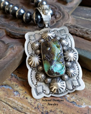 Schaef Designs carved turquoise lizard on stamped sterling silver Southwestern Totem Animal Pendant | New Mexico