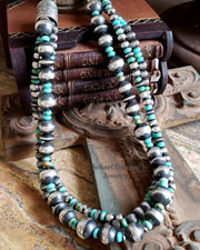Schaef Designs 3 Strand Turquoise & Sterling Silver Large Navajo Pearl Necklace | New Mexico