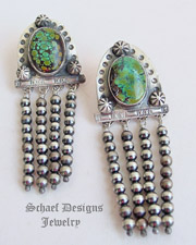 Schaef Designs Hubei Turquoise Navajo Pearls & Sterling Silver Waterfall POST Earrings | New Mexico