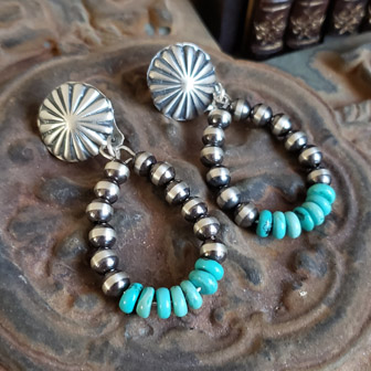 Schaef Designs turquoise Navajo Pearl Southwestern hoop post earrings | Arizona