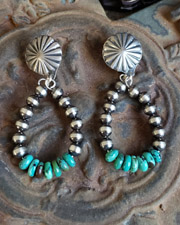 Schaef Designs Navajo Pearl and Hubei turquoise hoop post earrings | Arizona