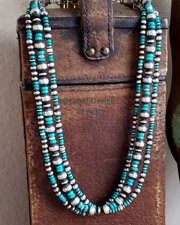 Turquoise Sterling Silver Navajo Pearl 3 Strand Necklace | Schaef Designs | New Mexico