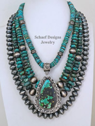 Schaef Designs Hubei Turquoise Pendant & Turquoise & Sterling Silver Necklaces Pairing | New Mexico