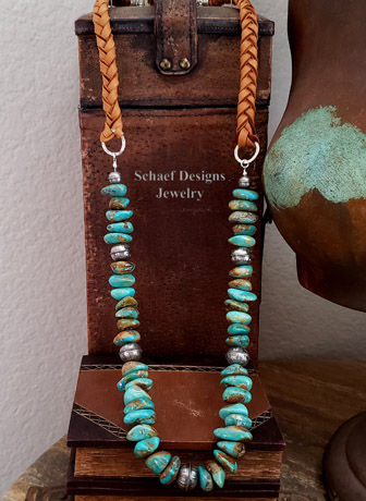 Schaef Designs Turquoise Nugget & braided leather Southwestern necklace | Arizona