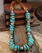 Schaef Designs Turquoise Nuggets Braided Leather & Southwestern Necklace | Arizona