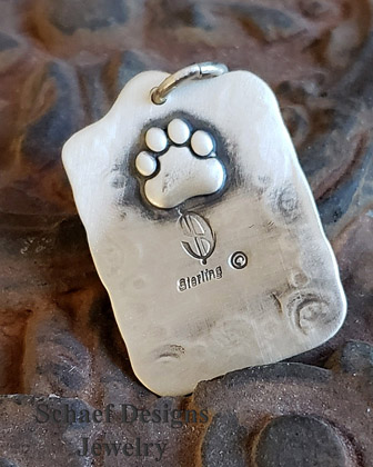 Schaef Designs kingman turquoise & stamped sterling silver Southwestern Dog tag pendant | Arizona