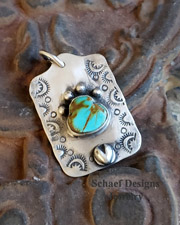 Schaef Designs Southwestern Kingman Turquoise & Stamped Sterling Silver Dog Tag Pendant | Arizona