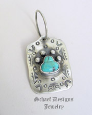 Schaef Designs turquoise paw print & Sterling Silver Dog Tag Pendant | New Mexico