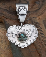 Schaef Designs Turquoise paw print on heart pendant | New Mexico