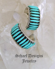 Bernard Peina Turquoise & Sterling Silver Petit Point Hoop POST Earrings | Schaef Designs | New Mexico