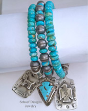 Schaef Designs Turquoise Sterling Silver Bench Bead & Dog Tag Bracelet Set | Arizona