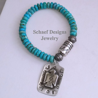 Schaef Designs Turquoise Orange Spiny Oyster & Sterling Silver Charm Bracelet | New Mexico