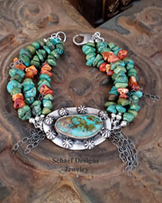 Schaef Designs Turquoise, Spiny Oyster & Sterling Silver Drippy Chain Bracelet | New Mexico