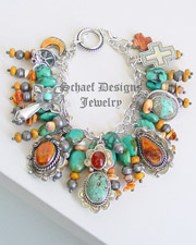 Schaef Designs Turquoise Spiny Oyster & Sterling Silver Charm Bracelet | New Mexico