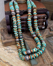 Schaef Designs Turquoise Orange Spiny & Sterling Silver Necklace Set | New Mexico