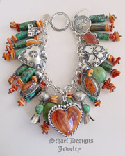 Schaef Designs Chrysocolla Spiny Oyster & Sterling Silver Charm Bracelet | New Mexico