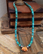 Schaef Designs Turquoise Spiny Oyster & Bench Bead Heishi Necklace | New Mexico