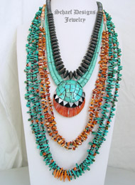 Schaef Designs turquoise, spiny oyster, sterling silver & shell Necklace Pairings | New Mexico
