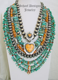 Schaef Designs Turquoise Nugget Sterling Silver Orange Spiny Oyster Necklaces Pairing | New Mexico