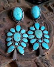 Schaef Designs Turquoise & Sterling Silver Large Squash Blossom Southwestern Earrings | New Mexico