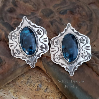 Native American Artist signed LLL Spiderweb Turquoise Designs Native American Turquoise earrings | Schaef Designs | New Mexico