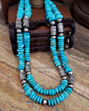 Schaef Designs Turquoise & Sterling Silver Tube & Bench Bead Southwestern Necklaces | New Mexico