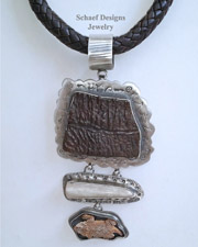 Schaef Designs Petrified Turtle Shell Antler Horn Toad & Sterling Silver Southwestern Pendant | New Mexico