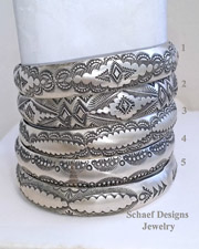Vince Platero Sterling Silver Stamped bangle Bracelets | Online upscale southwestern equine jewelry boutique gallery | New Mexico