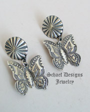 Vince Platero Hand Stamped Sterling Silver Butterfly POST Earrings | New Mexico