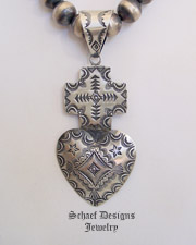 Vince Platero Sterling Silver Stamped Large Heart Cross Pendant | Schaef Designs | New Mexico