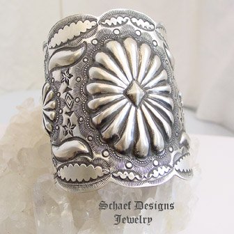 Vincent Platero Stamped Sterling Silver Concho Large Cuff