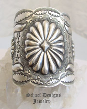 Vince Platero Sterling Silver Stamped Large Cuff Bracelet | Schaef Designs | New Mexico