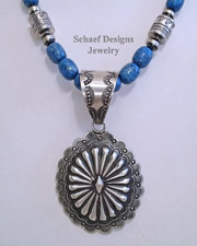 Vince Platero Medium Sterling Silver Stamped Repousse Concho Pendant | Schaef Designs | New Mexico