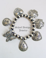 Schaef Designs Denim Sterling Silver Navajo Pearl & Vince Platero Charms Bracelet | New Mexico