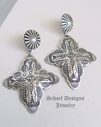 Vince Platero NEW Sterling Silver hand stamped cross post earrings | Schaef Designs | Arizona