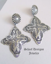 Vincent Platero Hand Stamped Sterling Silver Tall Cross Earrings POSTS  | Schaef Designs | New Mexico