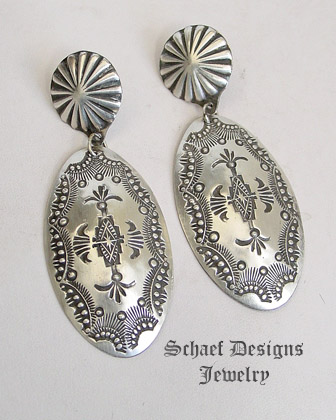 Vince Platero hand stamped sterling silver long oval post earrings | Schaef Designs | Arizona