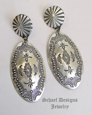 Vincent Platero Large Stamped Sterling Silver Long Oval POST Earrings | Schaef Designs | New Mexico