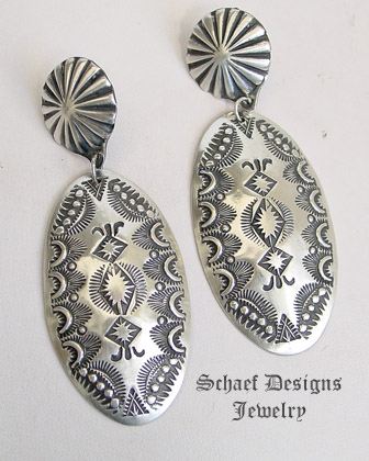 Vince Platero Hand stamped sterling silver oval post earrings | Schaef Designs | New Mexico