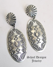 Vince Platero Large Sterling Silver Stamped Oval Post Earrings NEW | Schaef Designs | New Mexico