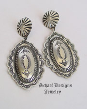 Vincent Platero Artist Signed Native American Stamped Sterling Silver Oval POST Earrings | Schaef Designs | New Mexico