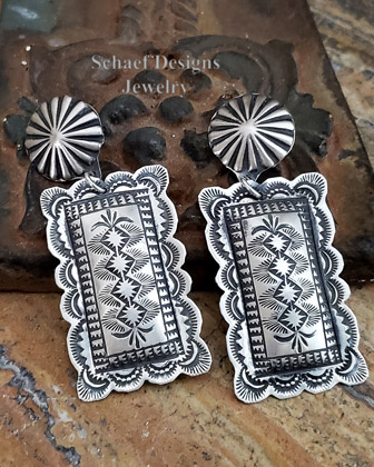 Vince Platero hand stampe sterling silver rectangular post earrings | Schaef Designs | New Mexico