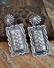 Vincent Platero Large Rectangular Stamped Sterling Silver Post Earrings | New Mexico