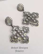 Vince Platero sterling silver rosette cross POST earrings | Schaef Designs | New Mexico | New Mexico
