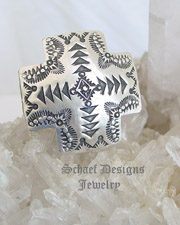 Vince Platero Stamped Sterling Silver square cross Adjustable Ring | Schaef Designs | New Mexico