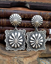 Vince Platero Stamped Sterling Silver Square Concho POST Earrings | Schaef Designs Jewelry | New Mexico