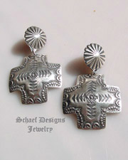 Vincent Platero artist signed vjp hand stamped sterling silver square cross Post Earrings | Schaef Designs | New Mexico