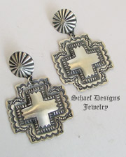 Vince Platero Hand Stamped Sterling Silver Square Puffy Cross POST Earrings | Schaef Designs | New Mexico